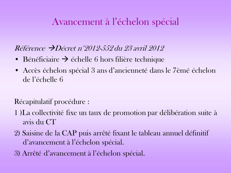 Avancement à léchelon spécial Référence Décret n°2012-552 du 23 avril 2012 Bénéficiaire échelle 6 hors filière technique Accès échelon spécial 3 ans d