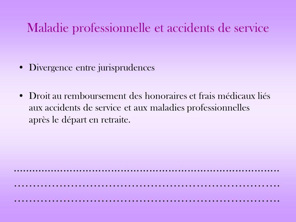 Maladie professionnelle et accidents de service Divergence entre jurisprudences Droit au remboursement des honoraires et frais médicaux liés aux accid
