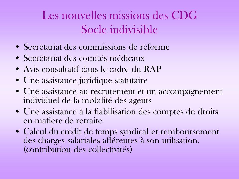 Les nouvelles missions des CDG Socle indivisible Secrétariat des commissions de réforme Secrétariat des comités médicaux Avis consultatif dans le cadr