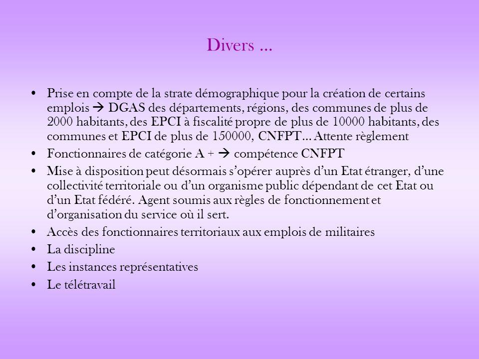 Divers … Prise en compte de la strate démographique pour la création de certains emplois DGAS des départements, régions, des communes de plus de 2000