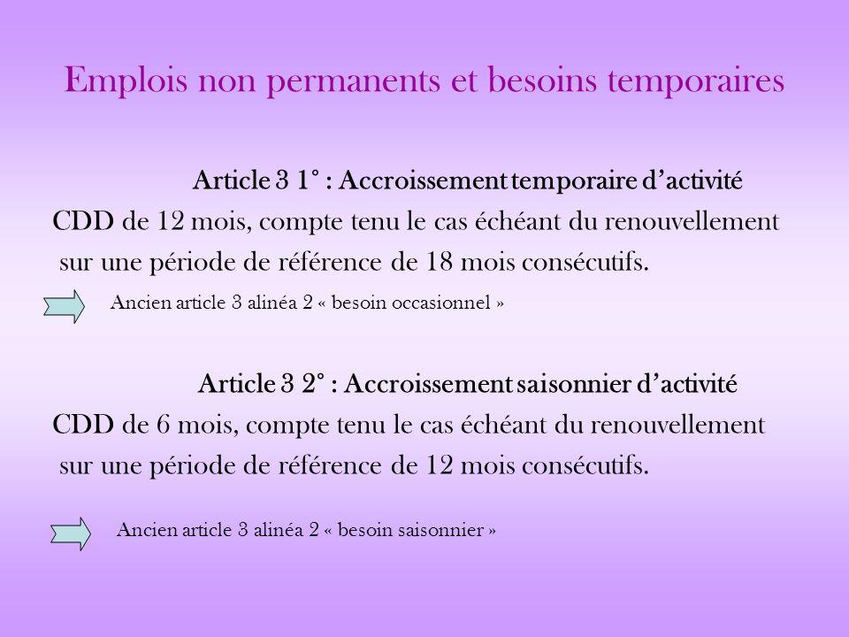 Emplois non permanents et besoins temporaires Article 3 1° : Accroissement temporaire dactivité CDD de 12 mois, compte tenu le cas échéant du renouvel