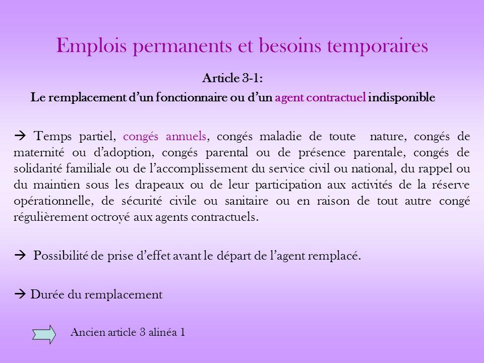 Emplois permanents et besoins temporaires Article 3-1: Le remplacement dun fonctionnaire ou dun agent contractuel indisponible Temps partiel, congés a