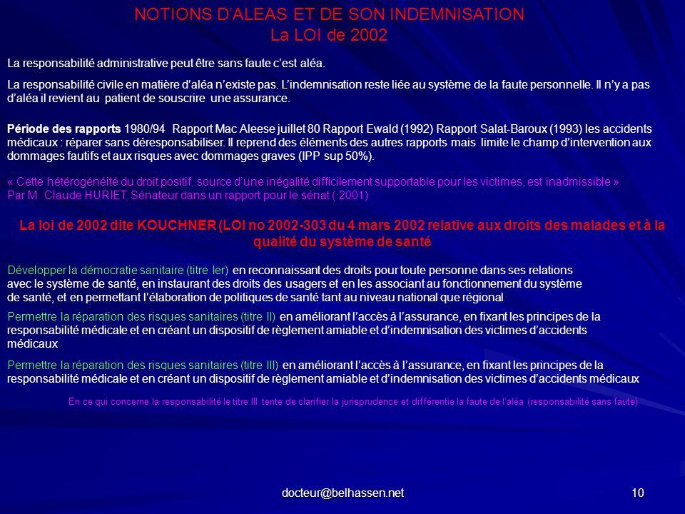 docteur@belhassen.net 10 NOTIONS DALEAS ET DE SON INDEMNISATION La LOI de 2002 La responsabilité administrative peut être sans faute cest aléa. La res