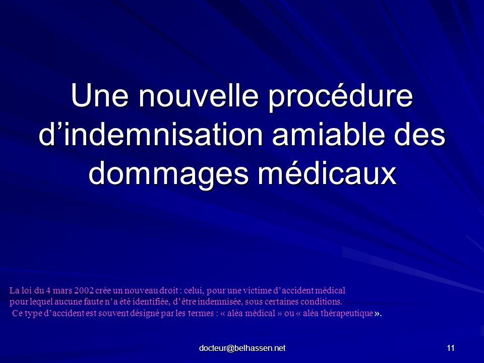 docteur@belhassen.net 11 Une nouvelle procédure dindemnisation amiable des dommages médicaux La loi du 4 mars 2002 crée un nouveau droit : celui, pour
