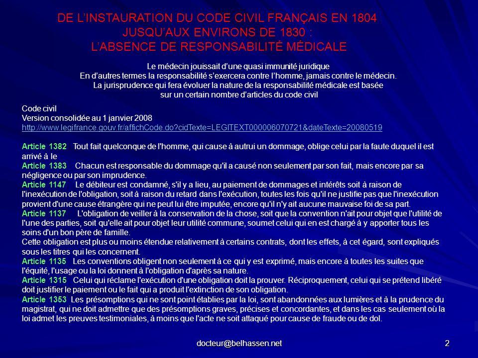 docteur@belhassen.net 2 DE LINSTAURATION DU CODE CIVIL FRANÇAIS EN 1804 JUSQUAUX ENVIRONS DE 1830 : LABSENCE DE RESPONSABILITÉ MÉDICALE Code civil Ver