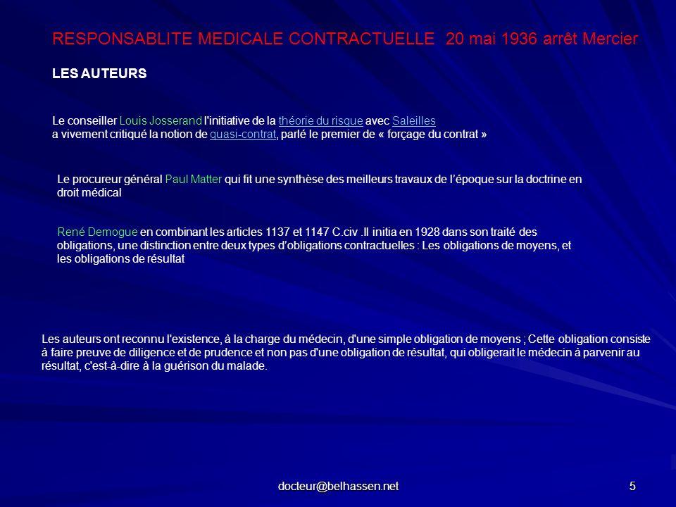 docteur@belhassen.net 5 LES AUTEURS Le conseiller Louis Josserand l'initiative de la théorie du risque avec Saleillesthéorie du risqueSaleilles a vive