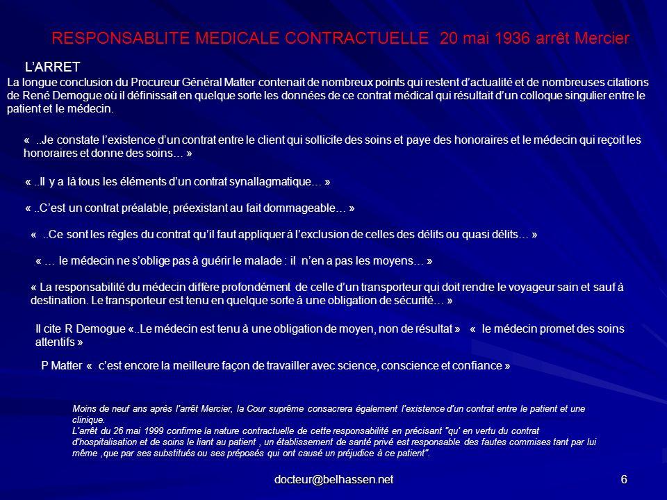 docteur@belhassen.net 6 LARRET RESPONSABLITE MEDICALE CONTRACTUELLE 20 mai 1936 arrêt Mercier La longue conclusion du Procureur Général Matter contena