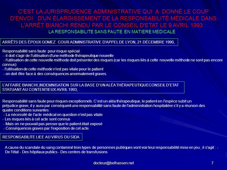 docteur@belhassen.net 8 LÉQUITÉ DEVANT LALÉA OU LE BIAIS DU DROIT CIVIL POUR REJOINDRE LE DROIT PUBLIC FAUTES OU ALEAS lobligation dinformation et le consentement éclairé (avant la loi de 2002) La notion de perte de chance La présomption de faute ou faute incluse la responsabilité par fait dautrui dans lexercice médical pluridisciplinaire il faut quil existe réellement une chance et que la faute fasse perdre une possibilité de guérison.