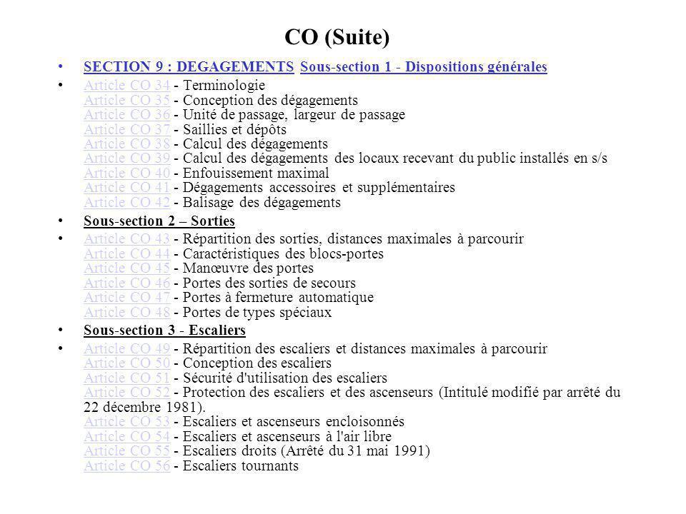 CO (Suite) SECTION 9 : DEGAGEMENTS Sous-section 1 - Dispositions générales Article CO 34 - Terminologie Article CO 35 - Conception des dégagements Art