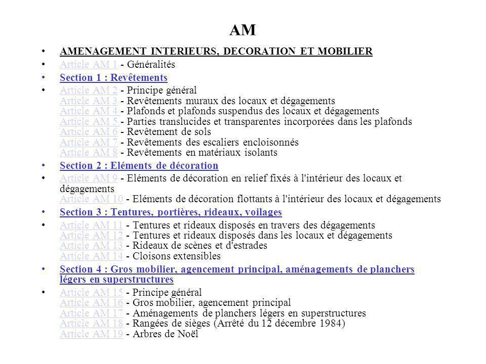 AM AMENAGEMENT INTERIEURS, DECORATION ET MOBILIER Article AM 1 - GénéralitésArticle AM 1 Section 1 : Revêtements Article AM 2 - Principe général Artic