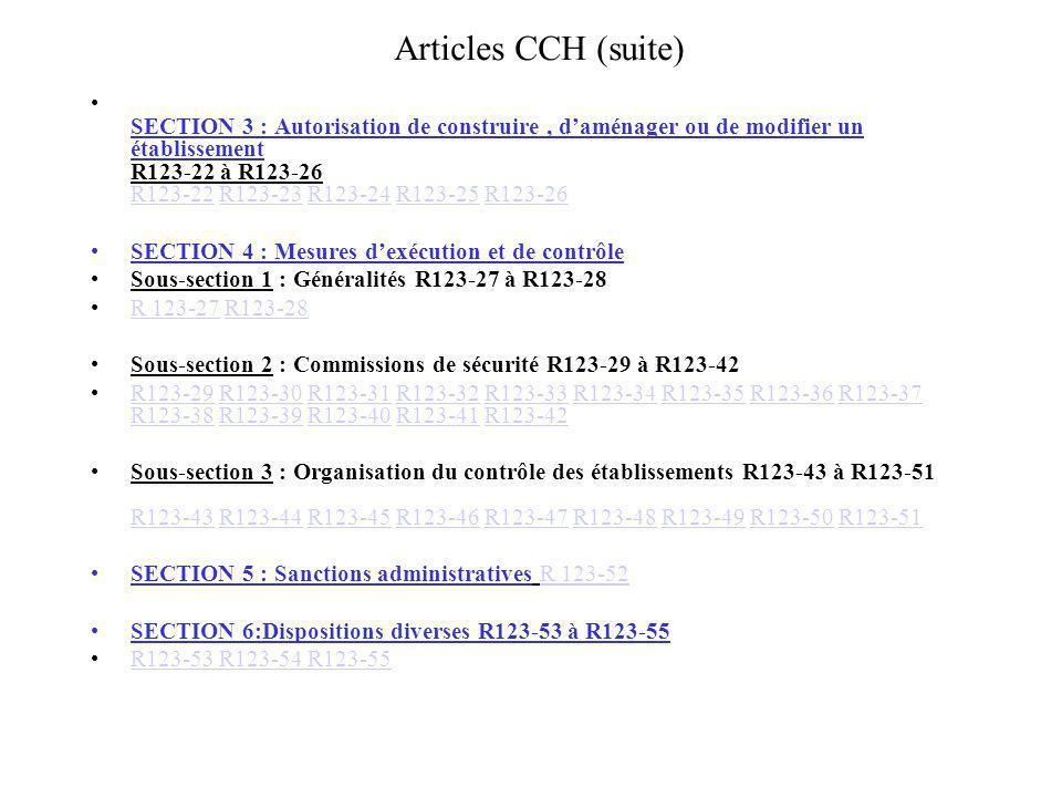 Articles CCH (suite) SECTION 3 : Autorisation de construire, daménager ou de modifier un établissement R123-22 à R123-26 R123-22 R123-23 R123-24 R123-