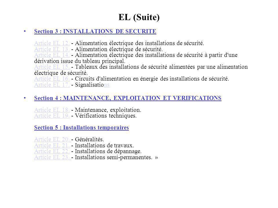 EL (Suite) Section 3 : INSTALLATIONS DE SECURITE Article EL 12. - Alimentation électrique des installations de sécurité. Article EL 13. - Alimentation