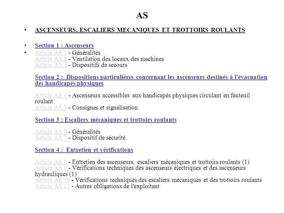 AS ASCENSEURS, ESCALIERS MECANIQUES ET TROTTOIRS ROULANTS Section 1 : Ascenseurs Article AS 1 - Généralités Article AS 2 - Ventilation des locaux des