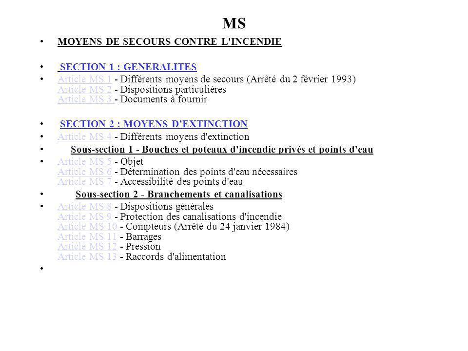 MS MOYENS DE SECOURS CONTRE L'INCENDIE SECTION 1 : GENERALITES Article MS 1 - Différents moyens de secours (Arrêté du 2 février 1993) Article MS 2 - D