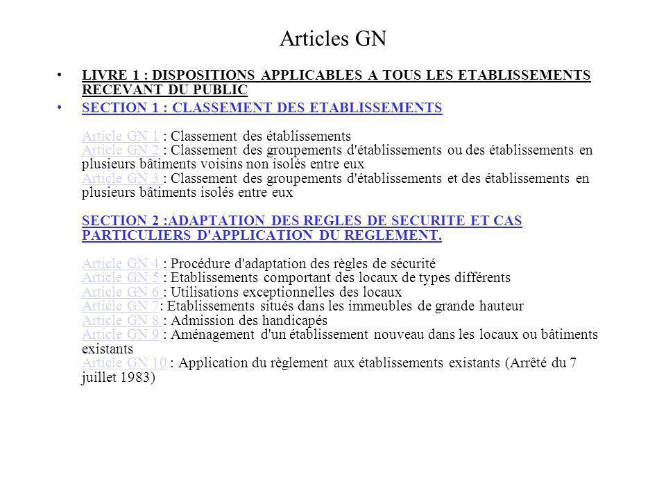 Articles GN LIVRE 1 : DISPOSITIONS APPLICABLES A TOUS LES ETABLISSEMENTS RECEVANT DU PUBLIC SECTION 1 : CLASSEMENT DES ETABLISSEMENTS Article GN 1 : C