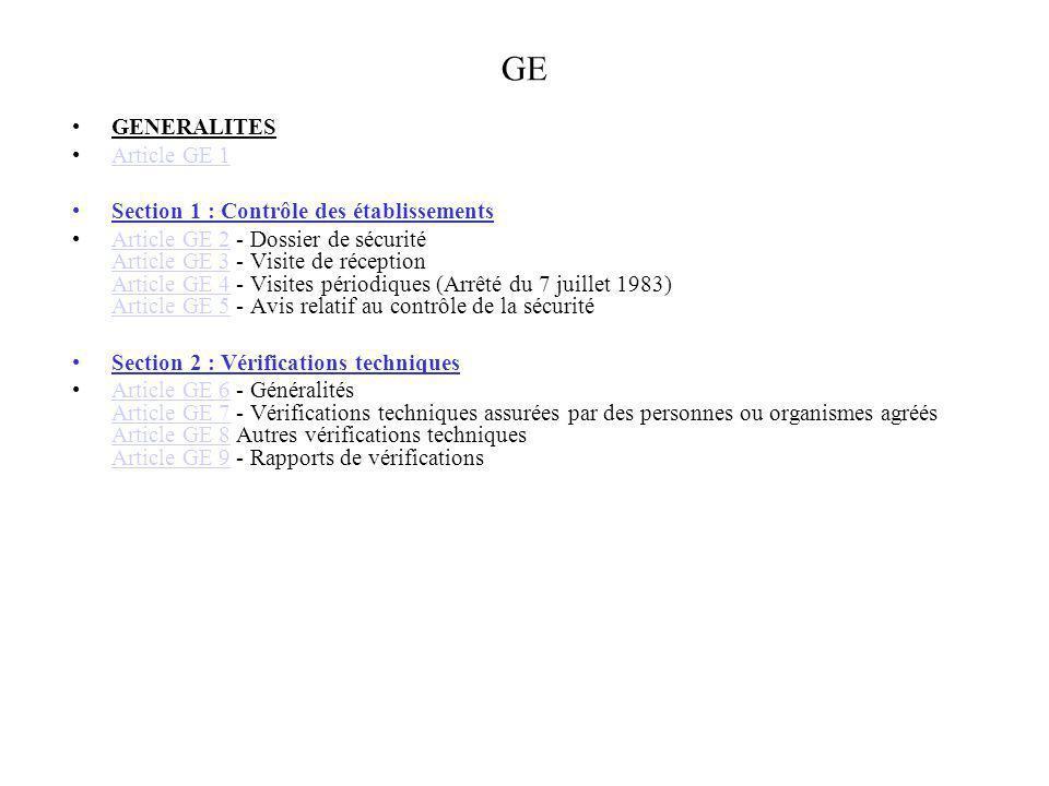 GE GENERALITES Article GE 1 Section 1 : Contrôle des établissements Article GE 2 - Dossier de sécurité Article GE 3 - Visite de réception Article GE 4