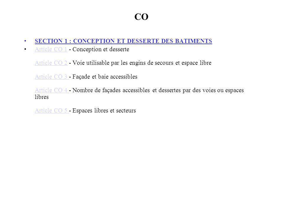 CO SECTION 1 : CONCEPTION ET DESSERTE DES BATIMENTS Article CO 1 - Conception et desserte Article CO 2 - Voie utilisable par les engins de secours et