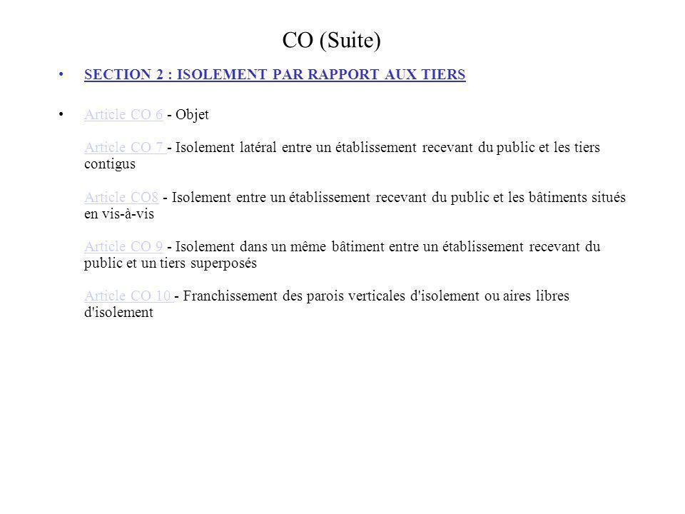 CO (Suite) SECTION 3 : RESISTANCE AU FEU DES STRUCTURES Article CO 11 - Généralités Article CO 12 - Résistance au feu des structures et planchers d un bâtiment occupé en totalité ou partiellement par l établissement recevant du public.