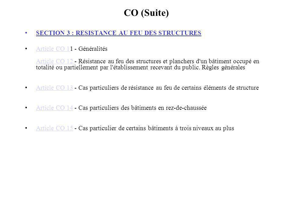 CO (Suite) SECTION 3 : RESISTANCE AU FEU DES STRUCTURES Article CO 11 - Généralités Article CO 12 - Résistance au feu des structures et planchers d'un