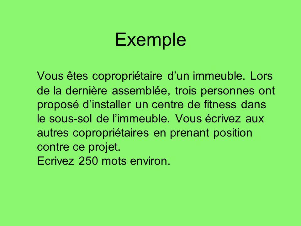 Exemple Vous êtes copropriétaire dun immeuble.