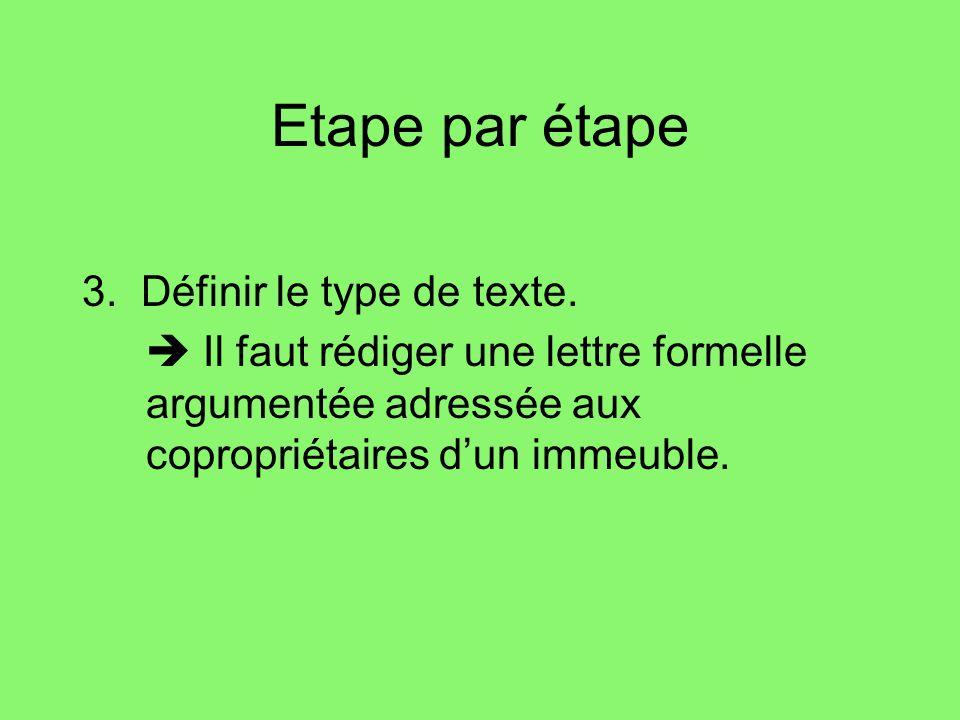 Etape par étape 3.Définir le type de texte.