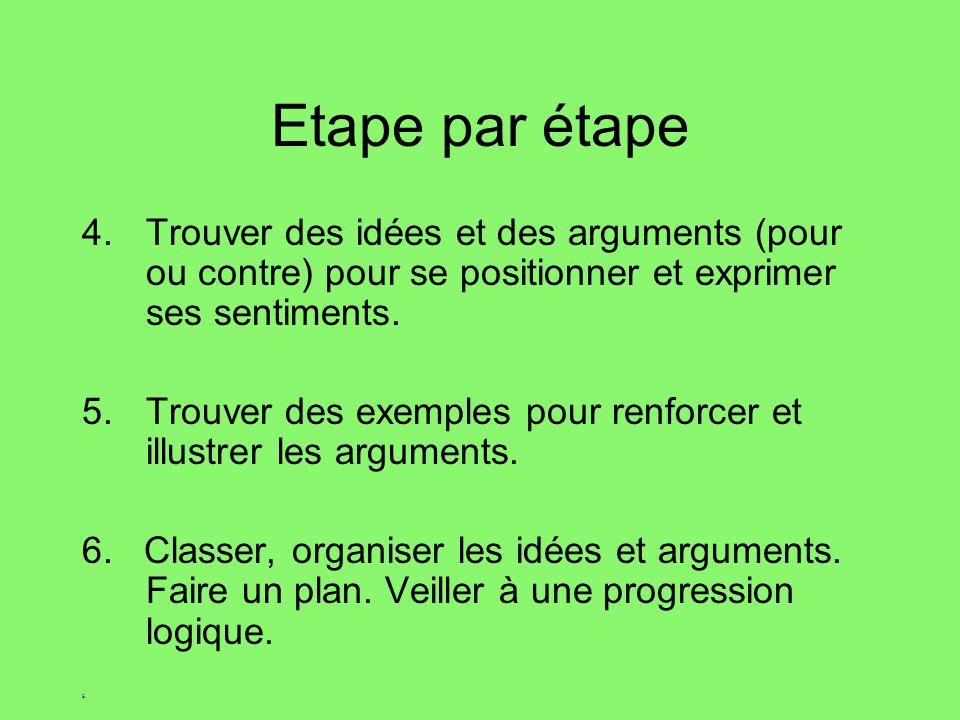 Etape par étape 4.Trouver des idées et des arguments (pour ou contre) pour se positionner et exprimer ses sentiments.