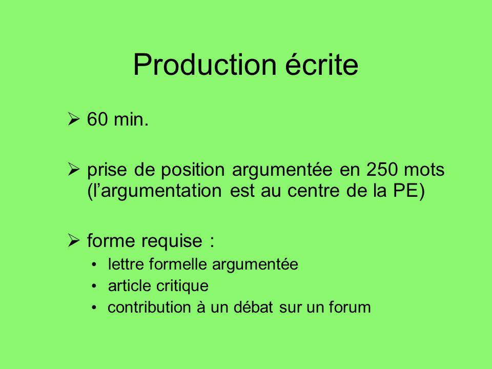 Production écrite 60 min.