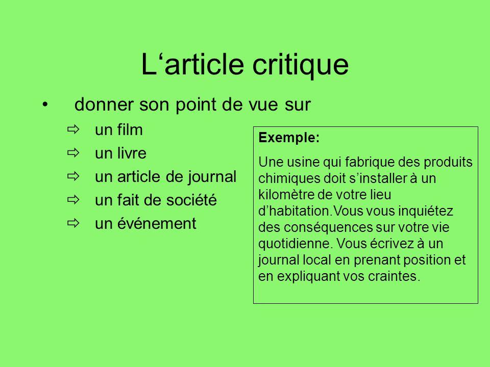 La contribution à un débat Exemple: « Lhomme est beaucoup trop égoïste, individualiste, avare, égocentrique, et ça me fait mal.