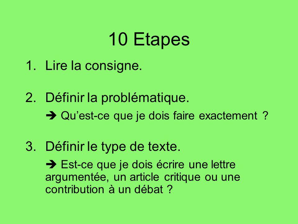 10 Etapes 1.Lire la consigne.2.Définir la problématique.