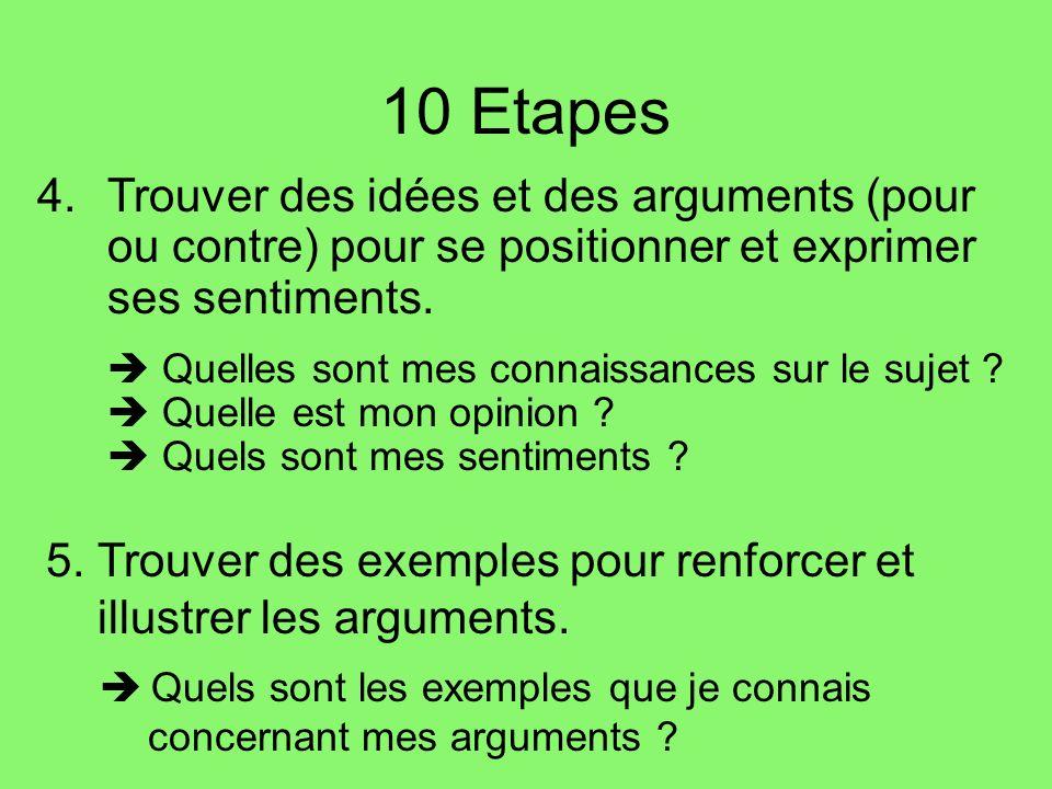 10 Etapes 4.Trouver des idées et des arguments (pour ou contre) pour se positionner et exprimer ses sentiments.