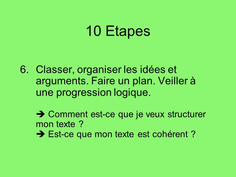 10 Etapes 7.Pour structurer le texte, veiller aux articulateurs / connecteurs logiques.