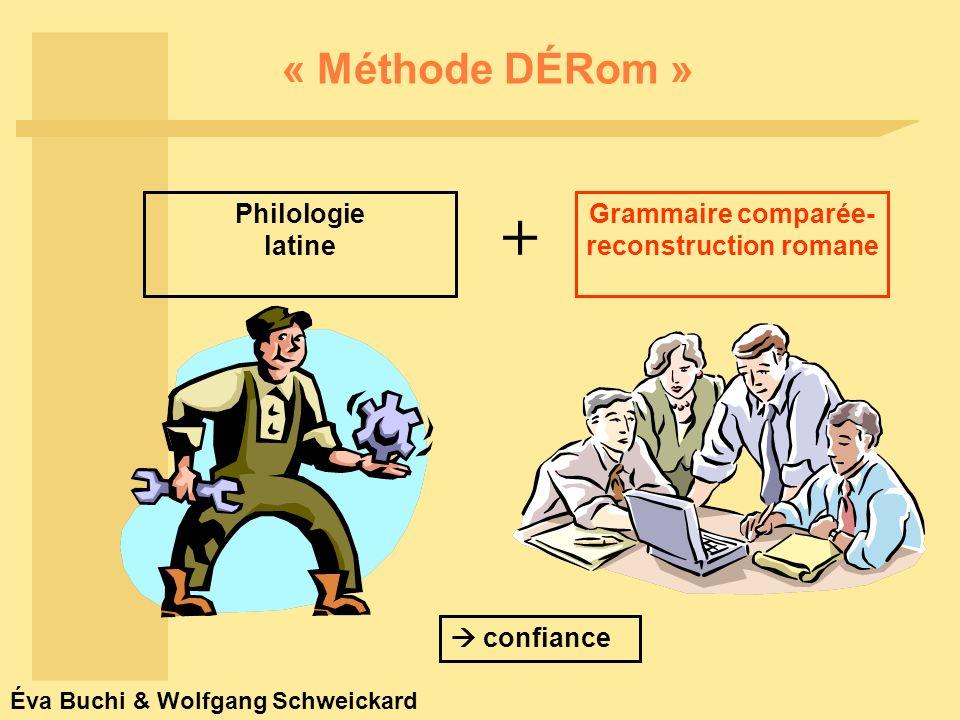 Éva Buchi & Wolfgang Schweickard « Méthode DÉRom » Grammaire comparée- reconstruction romane confiance + Philologie latine