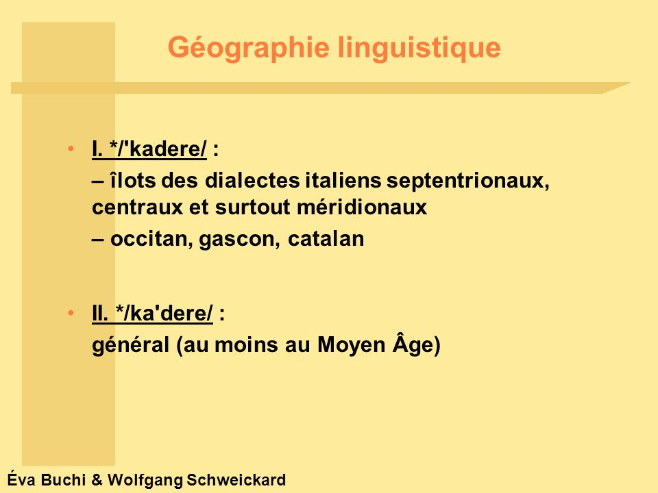 Éva Buchi & Wolfgang Schweickard Géographie linguistique I.