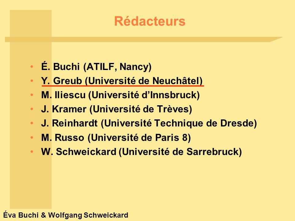 Éva Buchi & Wolfgang Schweickard Réviseurs Grammaire comparée-reconstruction et vision romane : J.-P.