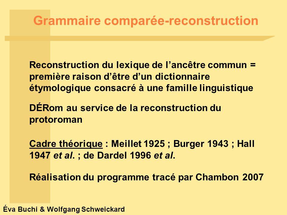 Éva Buchi & Wolfgang Schweickard Chambon à paraître : 3 : « […] les mots du latin écrit de lAntiquité ne sauraient être placés à lorigine des mots héréditaires du français ou des autres langues (gallo)romanes […].