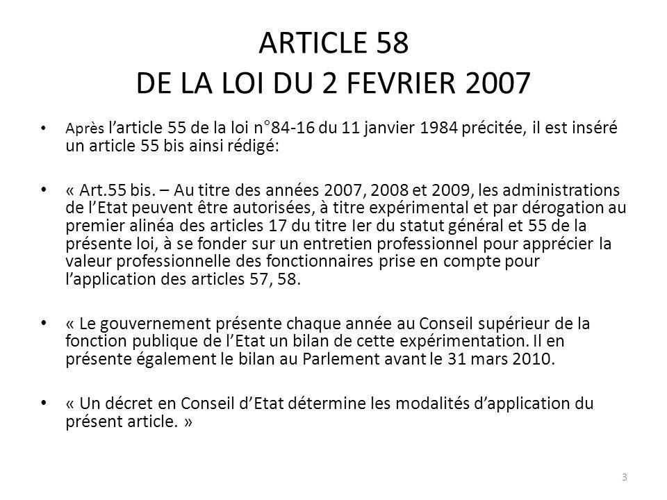 ARTICLE 58 DE LA LOI DU 2 FEVRIER 2007 Après larticle 55 de la loi n°84-16 du 11 janvier 1984 précitée, il est inséré un article 55 bis ainsi rédigé: « Art.55 bis.