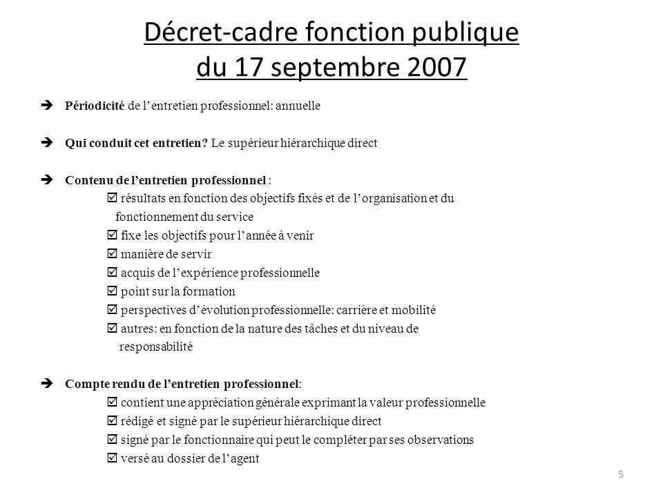 Décret-cadre fonction publique du 17 septembre 2007 Périodicité de lentretien professionnel: annuelle Qui conduit cet entretien.