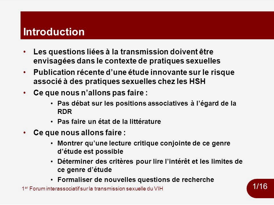 1 er Forum interassociatif sur la transmission sexuelle du VIH Jin et al.