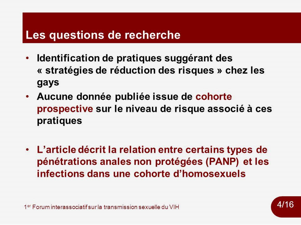 1 er Forum interassociatif sur la transmission sexuelle du VIH Les questions de recherche Identification de pratiques suggérant des « stratégies de ré