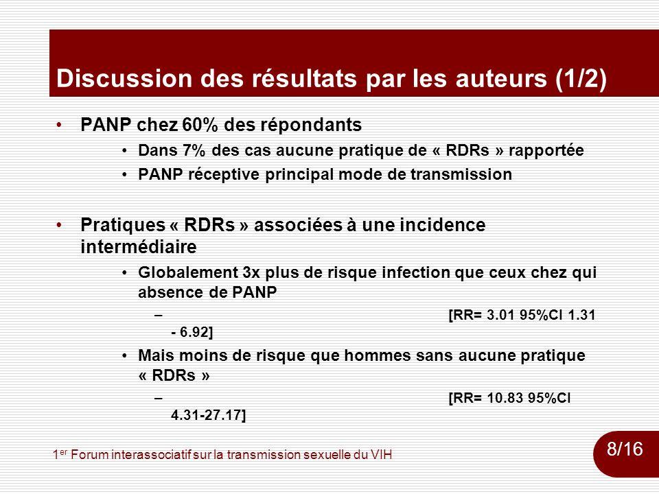 1 er Forum interassociatif sur la transmission sexuelle du VIH Discussion des résultats par les auteurs (1/2) PANP chez 60% des répondants Dans 7% des cas aucune pratique de « RDRs » rapportée PANP réceptive principal mode de transmission Pratiques « RDRs » associées à une incidence intermédiaire Globalement 3x plus de risque infection que ceux chez qui absence de PANP –[RR= 3.01 95%CI 1.31 - 6.92] Mais moins de risque que hommes sans aucune pratique « RDRs » –[RR= 10.83 95%CI 4.31-27.17] 8/16