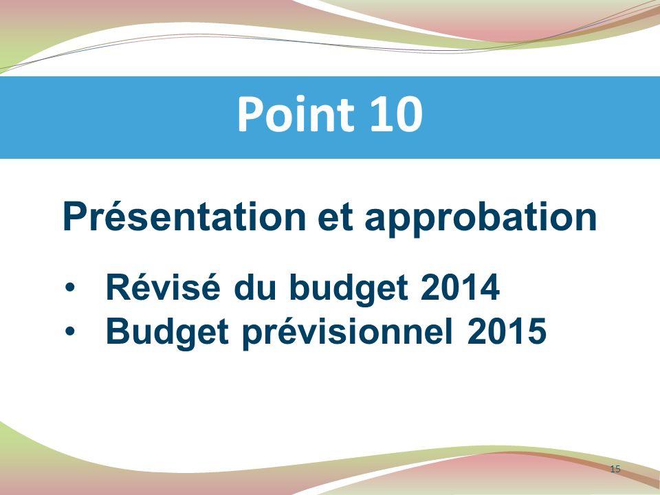 Présentation et approbation Révisé du budget 2014 Budget prévisionnel 2015 Point 10 15