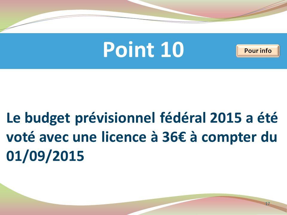 Point 10 17 Pour info Le budget prévisionnel fédéral 2015 a été voté avec une licence à 36 à compter du 01/09/2015