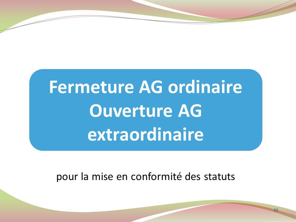35 Fermeture AG ordinaire Ouverture AG extraordinaire pour la mise en conformité des statuts