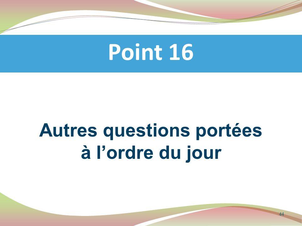 Autres questions portées à lordre du jour Point 16 44