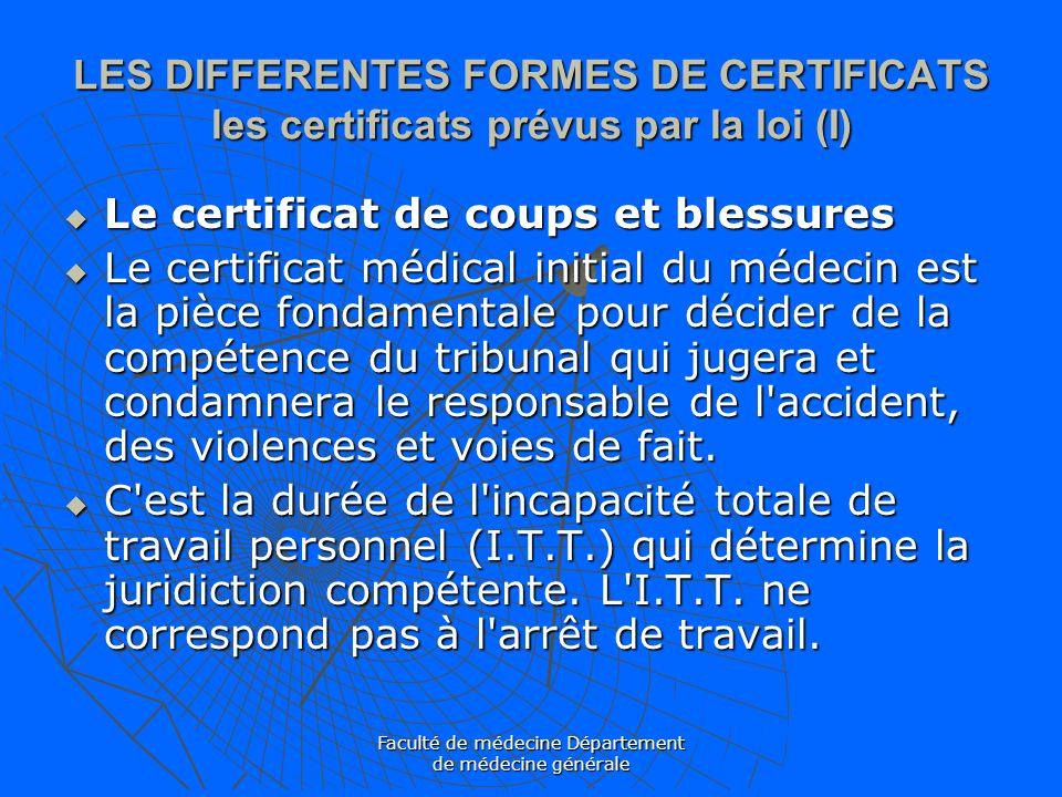 Faculté de médecine Département de médecine générale LES DIFFERENTES FORMES DE CERTIFICATS les certificats prévus par la loi (I) Le certificat de coup