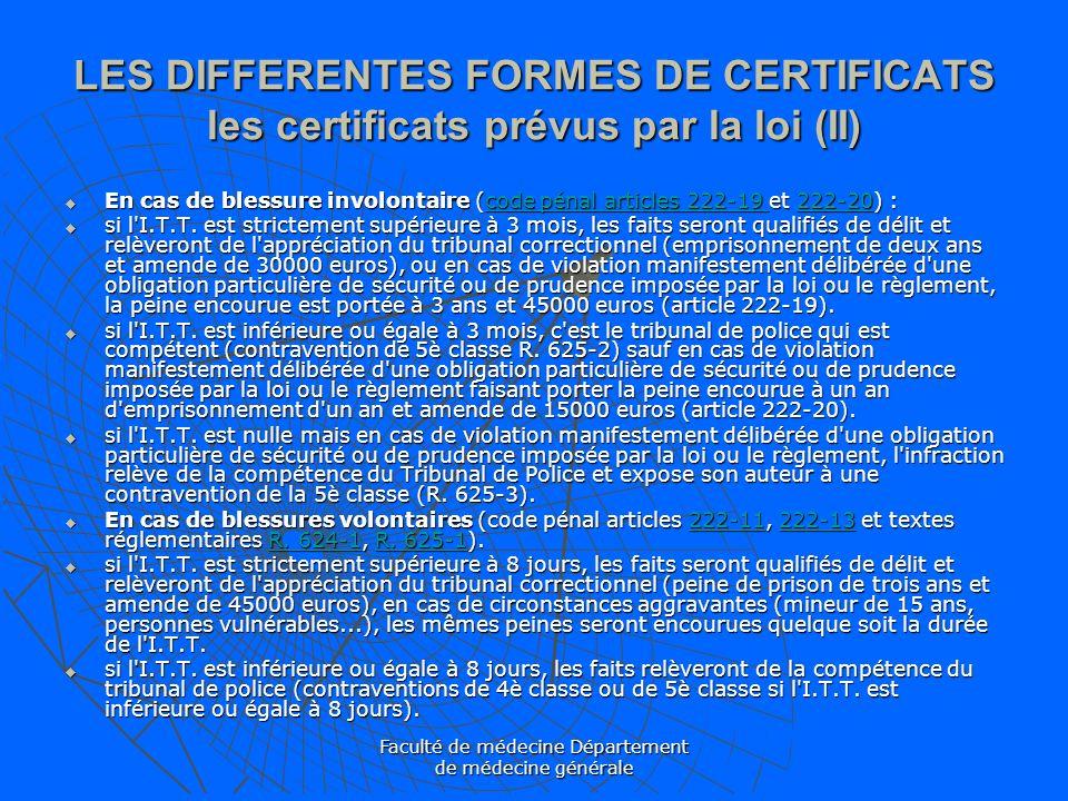 Faculté de médecine Département de médecine générale LES DIFFERENTES FORMES DE CERTIFICATS les certificats prévus par la loi (II) En cas de blessure i