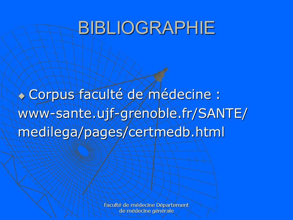 Faculté de médecine Département de médecine générale BIBLIOGRAPHIE Corpus faculté de médecine : Corpus faculté de médecine :www-sante.ujf-grenoble.fr/
