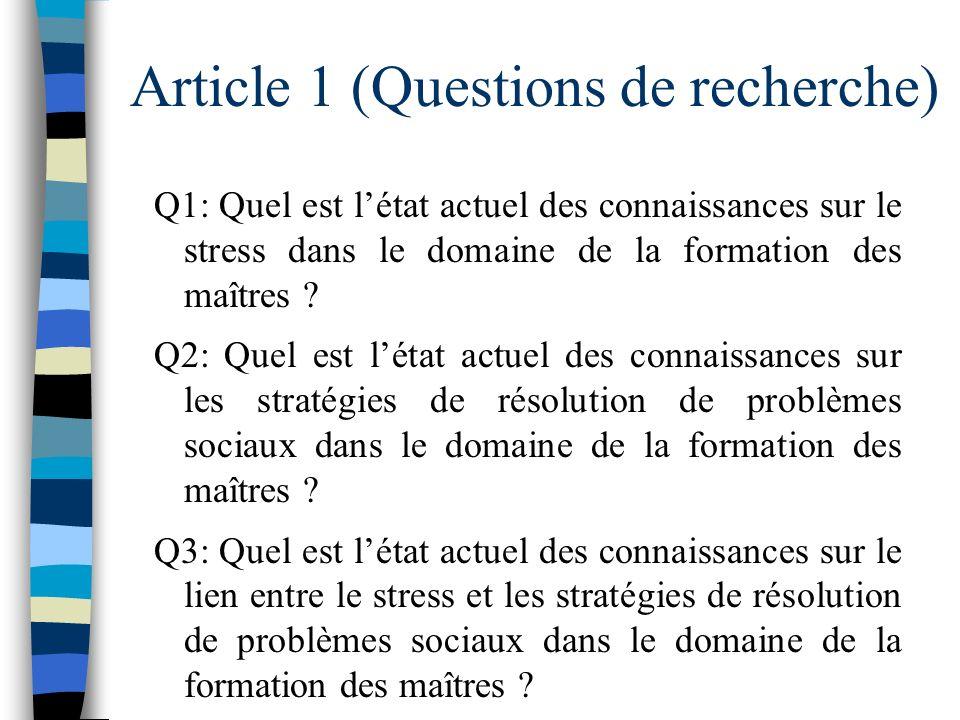 Article 1 (revue de la littérature) –Questions de recherche –Revue de la littérature (résultats) –Conclusion