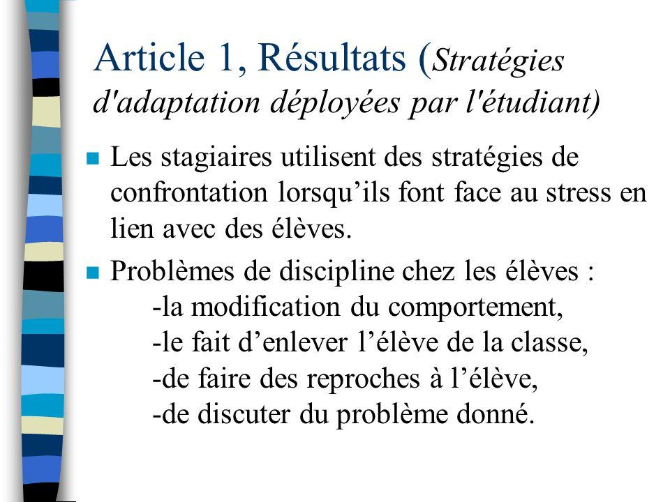 Article 1, Résultats : Lévaluation secondaire du stress (lévaluation des ressources personnelles et environnementales) n Les éléments stressants : -lé