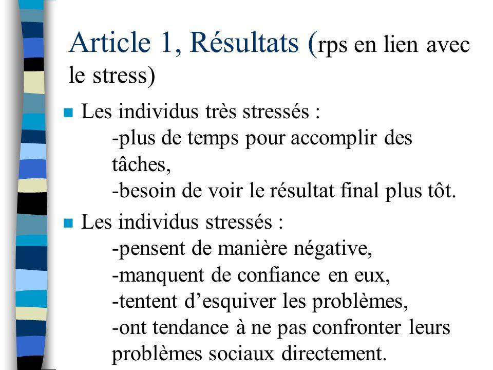 Article 1, Résultats ( Stratégies d'adaptation déployées par l'étudiant) n Les stagiaires utilisent des stratégies de confrontation lorsquils font fac